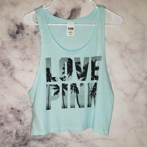 PINK VS light blue cropped tank extra small